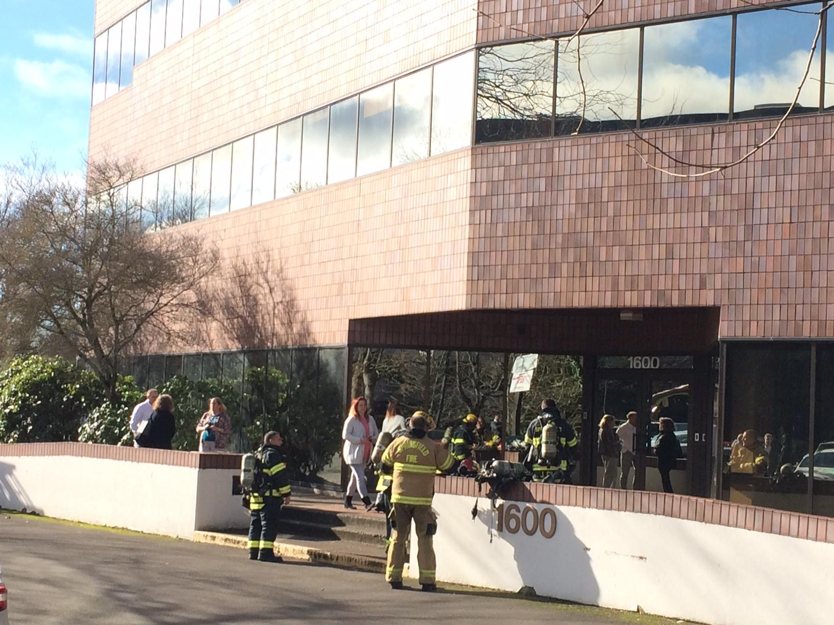 People evacuated buildings near the Valley River Center mall Monday after reports of possible gas leaks. (SBG)