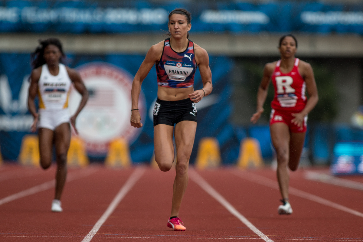 Former Oregon duck Jenna Prandini cruises through the finish of the 200m, coming out with the fastest time of the day in 22.72 seconds. Photo by Dillon Vibes
