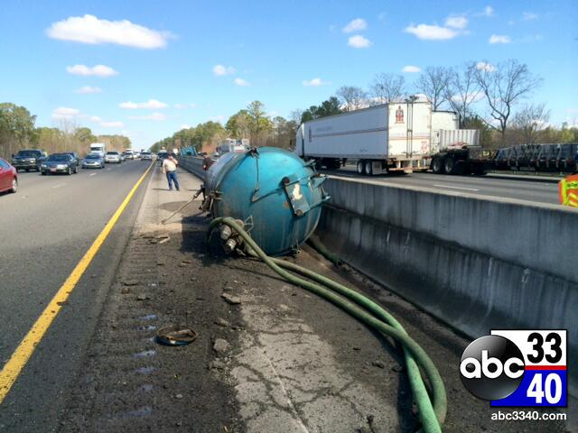 A waste water tanker truck accident on Interstate 20/59 East near Vance, Friday, March 7, 2014.