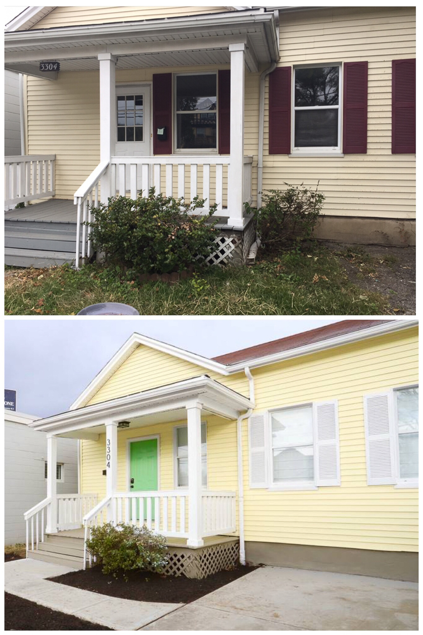 Before/after of the front exterior / Image courtesy of Nicole Nichols // Published: 1.8.19
