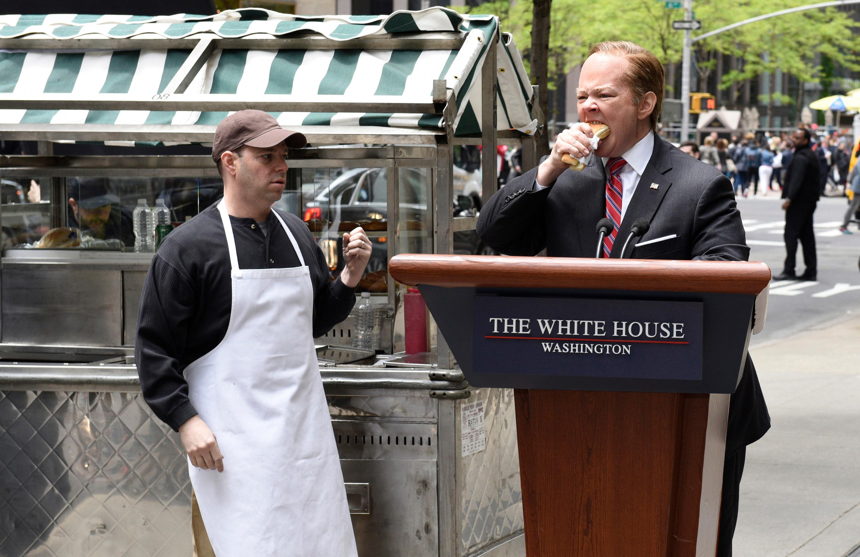 "In this photo provided by NBC, Melissa McCarthy, right, as White House Press Secretary Sean Spicer, performs during ""Spicer Returns"" on the television show ""Saturday Night Live,"" Saturday, May 13, 2017, in New York. McCarthy once again brought comic spice plus Spicer to ""Saturday Night Live."" (Kylie Billings/NBC via AP)"