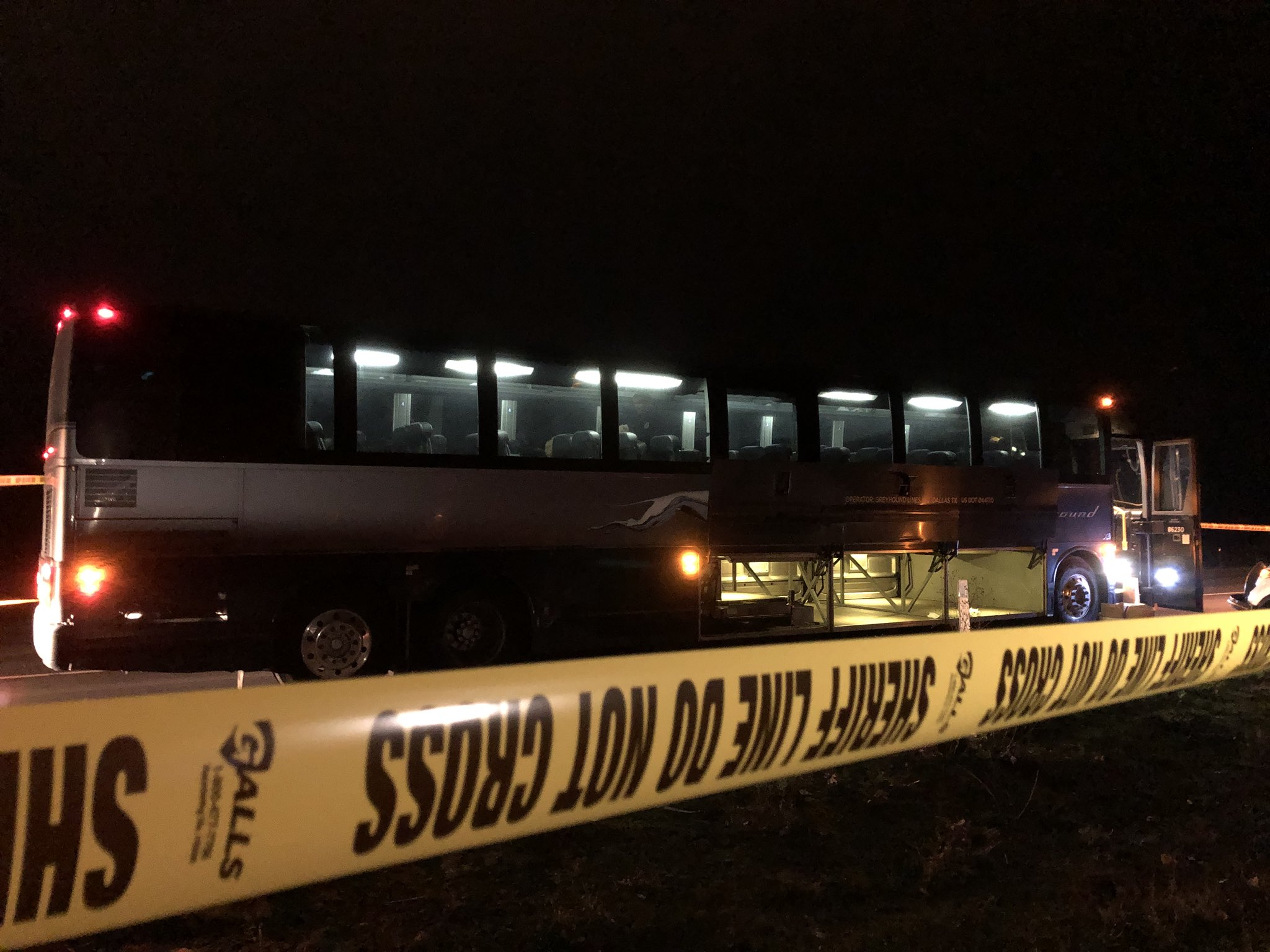Two people were stabbed on a Greyhound bus near Troutdale the night of Wednesday, Nov. 30, 2017, according to Multnomah County Sheriff's Office. KATU photo{&amp;nbsp;}<p></p>