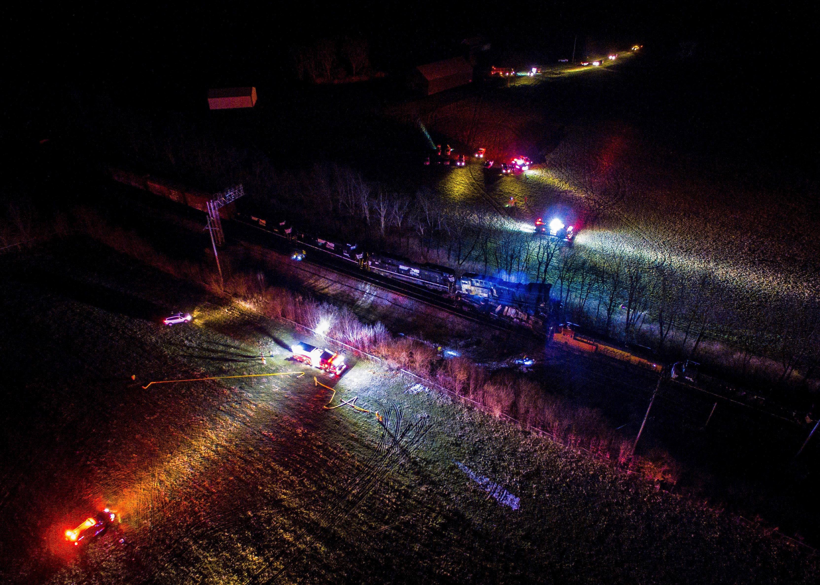 This photo provided by Nicholas Waun shows the scene where two trains collided and derailed in Georgetown, Ky., early Monday, March 19, 2018. Four people were injured after the accident late Sunday night. (Nicholas Waun via AP)