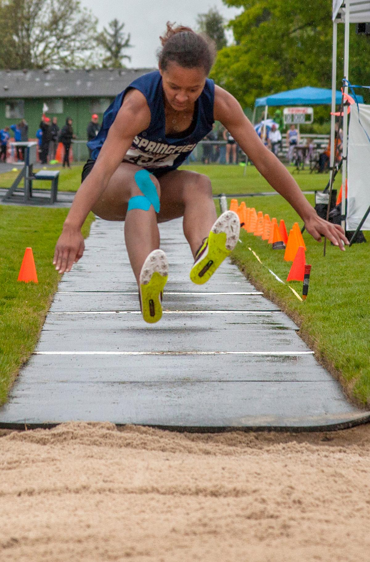 "Gabriel Mathews from Springfield High School wins the Women's Triple Jump event with the mark of 34'4"" at the 5A-3 Midwestern League District Track Championship. Photo by Vannie Cooper, Oregon News Lab"