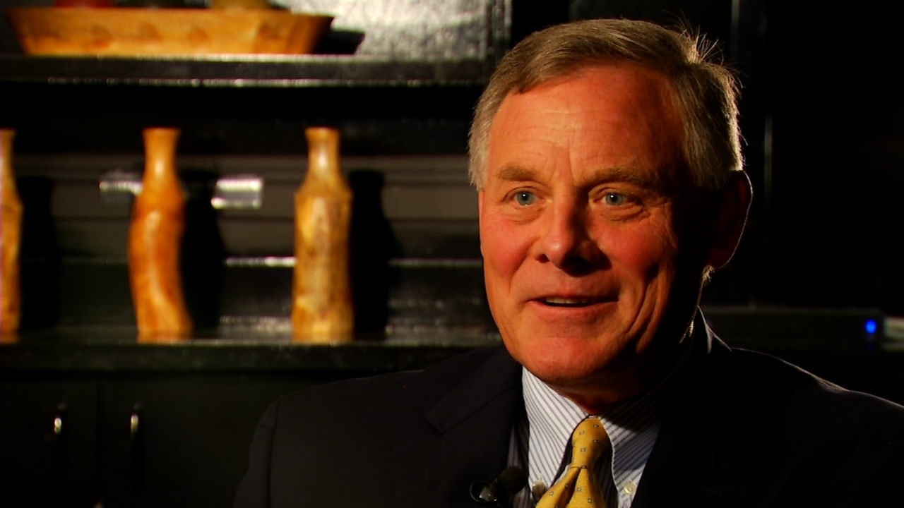 (FILE) Sen. Richard Burr speaks with News 13 on Oct. 12, 2016.  Burr is apologizing for remarks he made over the weekend where he's heard saying he was surprised there wasn't a bulls-eye on Hillary Clinton's picture on a rifle magazine. News 13 went to WCU to talk with a political expert about how controversies this late in the election cycle impact votes.  (Photo credit: WLOS staff)