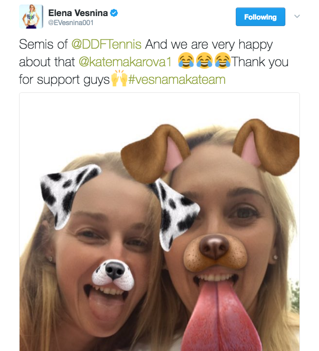 Elena Vesnina advances to the semis of Dubai and posts a photo on Twitter with Kate Makarova