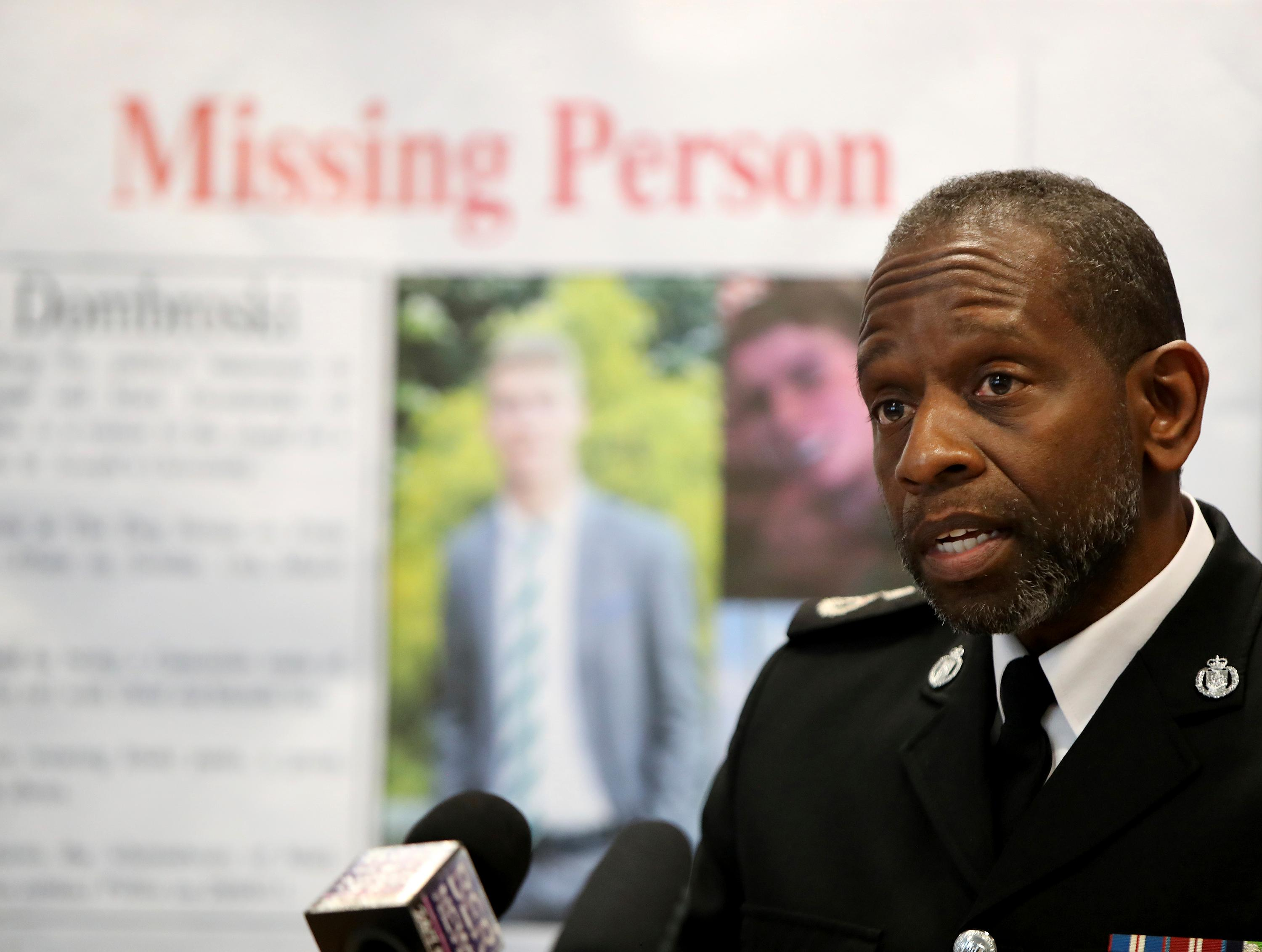 James Howard, acting Assistant Police Commissioner of Bermuda Police Services, gives a press conference regarding missing American college  student Mark Dombroski at the Hamilton Police Station in Hamilton, Bermuda, Monday, March 19, 2018. Dombroski, 19, a member of the rugby team at Saint Joseph's University in Philadelphia, disappeared early Sunday after a night of socializing at the end of an international rugby tournament. (Blaire Simmons/The Royal Gazette via AP)