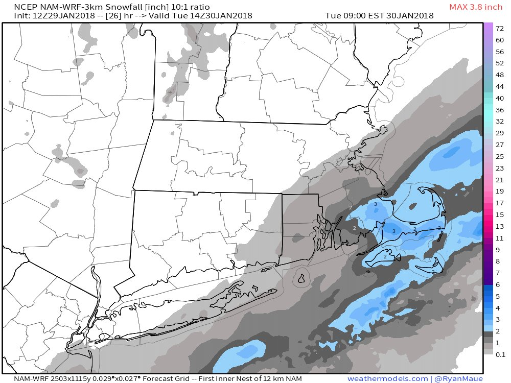 Monday night's light snow seems to be mostly an issue for Southeastern Massachusetts, but there is still some time for subtle shifts in the storm's path.