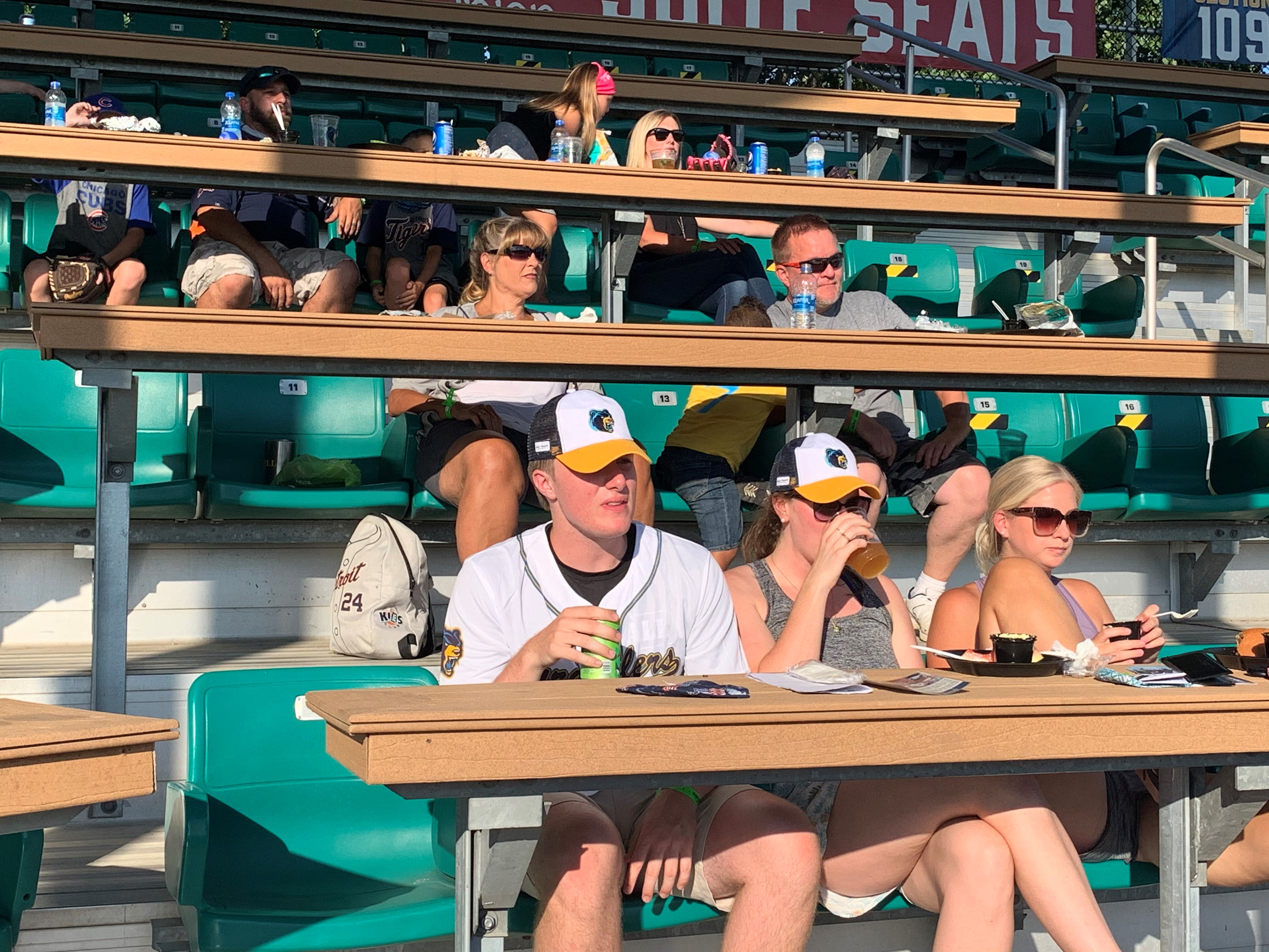 Fans keep their distance at the Kalamazoo Growlers opening day game July 1, 2020. (WWMT/Andy Pepper)