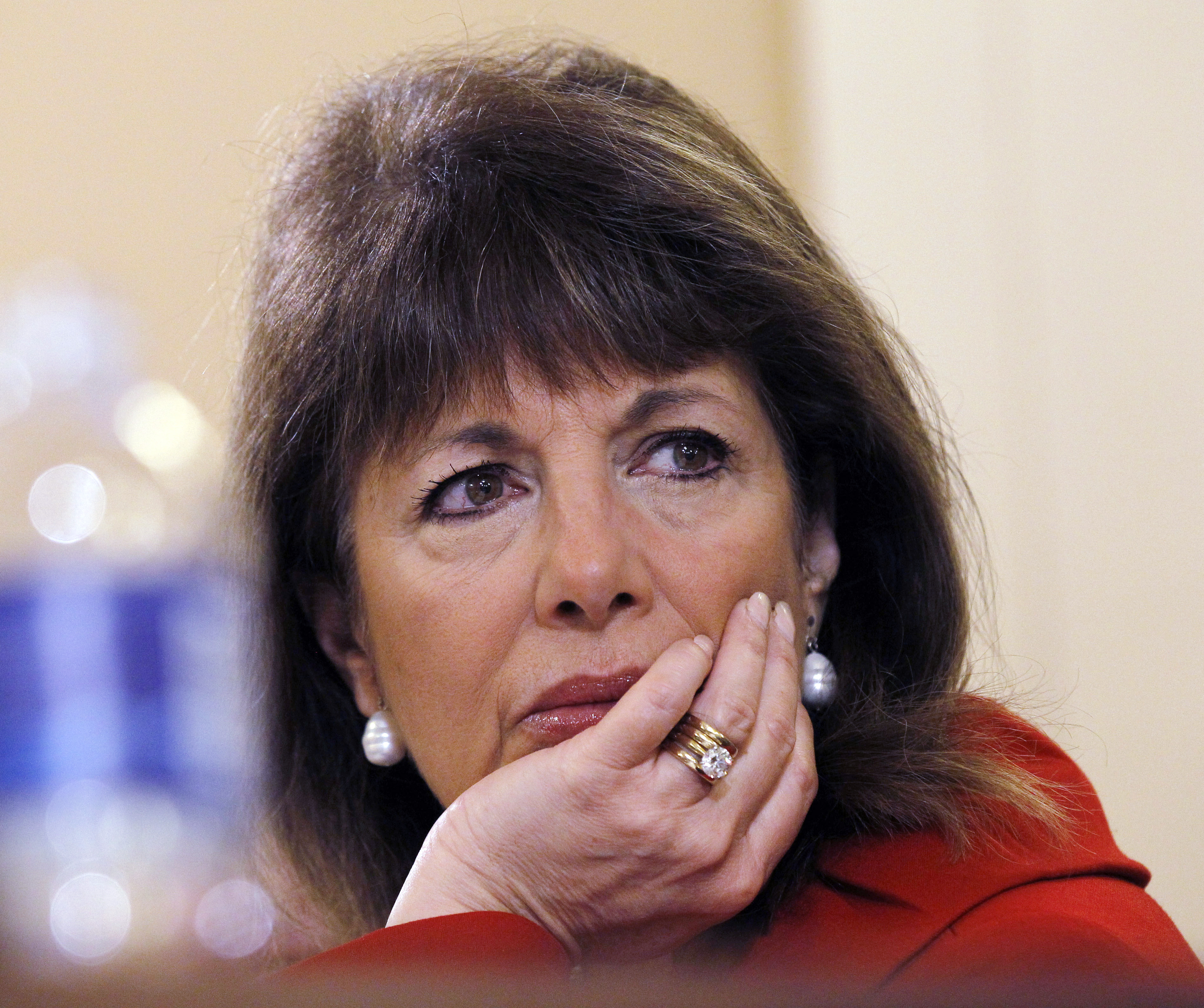 FILE - In this March 10, 2011, file photo, Rep. Jackie Speier D-Calif., listens to testimony during a hearing on Capitol Hill in Washington. One current and three former female members of Congress tell The Associated Press they have been sexually harassed or subjected to hostile sexual comments by their male colleagues while serving in the House. Speier of California has recently gone public with an account of being sexually assaulted by a male chief of staff while she was a congressional staffer. (AP Photo/Alex Brandon, File)
