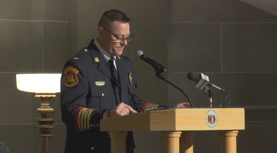 State Fire Marshal Tim Bean spoke at Firefighters Day at the State Capitol.{ }(Stephanie Hirata/KRCG 13)