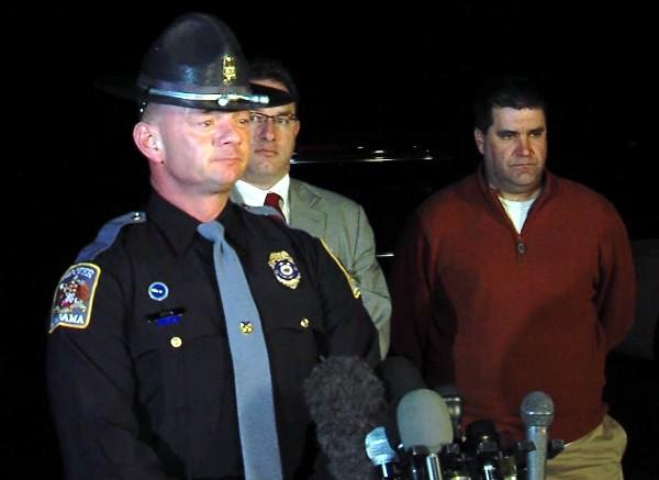 Trooper Kevin Cook of the Alabama Department of Public Safety gives an update on the hostage standoff in Midland City, Ala. on Friday, February 1, 2013.