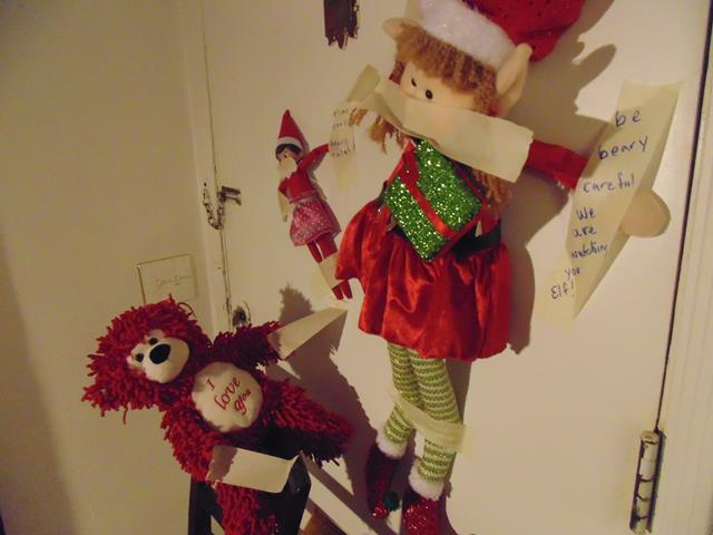 "Bears took Sofia and Snowflake the elves hostage and wrote ""Bears rule, elves drool"" and ""Be beary careful we are watching you elf"" Bear was caught with tape in hand."