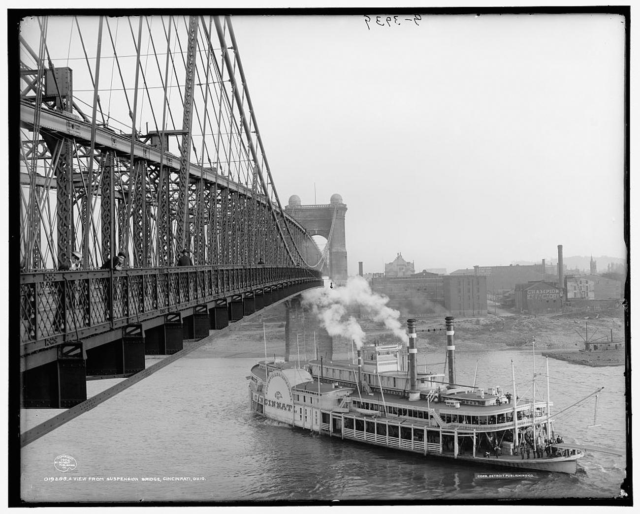 """A View from Suspension Bridge, Cincinnati, Ohio""{ }in 1906{ }/ Image: Detroit Publishing Co. accessed via the Library of Congress // Published: 3.4.19"