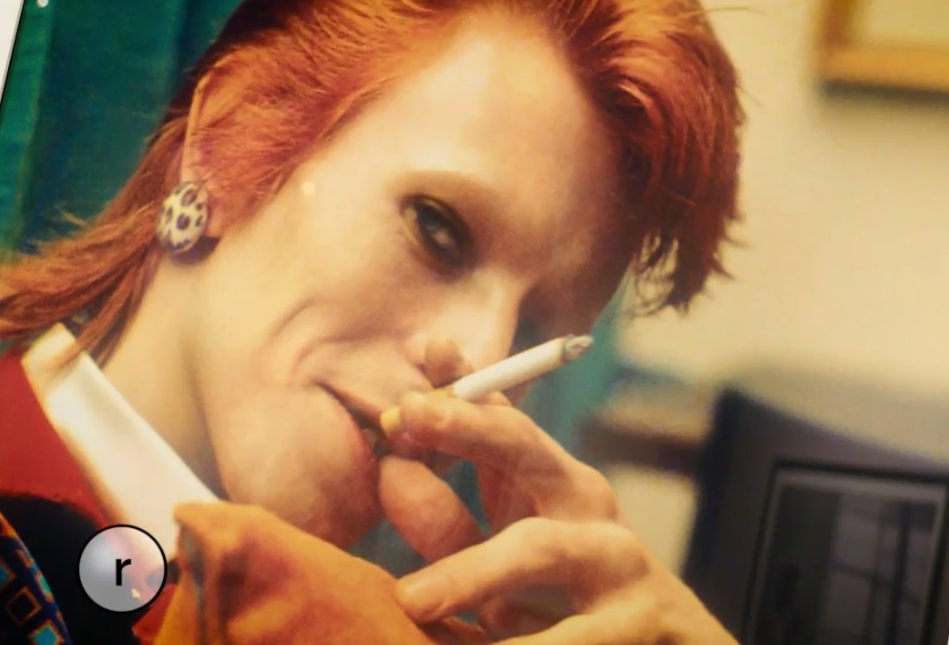 David Bowie smoking by Mick Rock at MoPOP. (Image: Mick Rock)