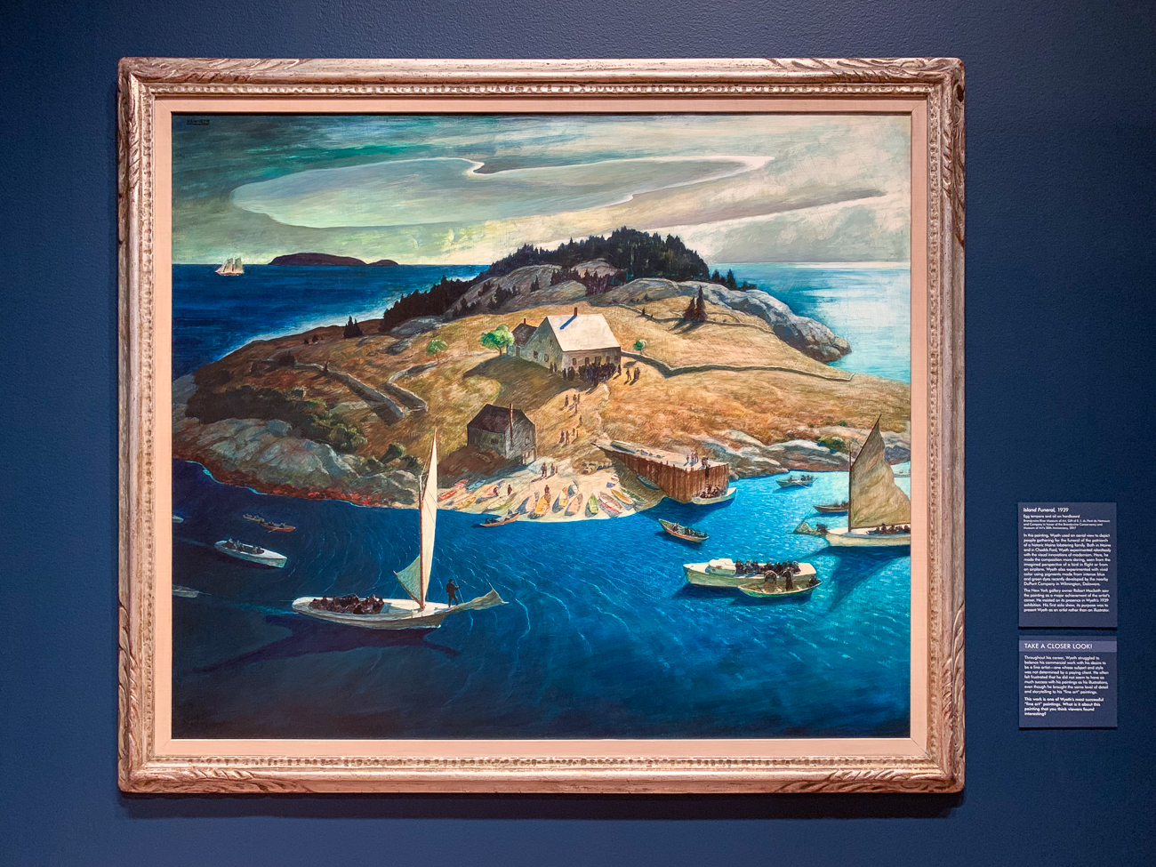 In Funeral for a Fisherman (1939), Wyeth worked with a chemist to produce a bright blue-green hue that intensifies the drama and surrealism of the scene he painted. He used this special hue in multiple pieces, several of which can be seen in the gallery.{ }/ Image: Phil Armstrong, Cincinnati Refined // Published: 2.9.20