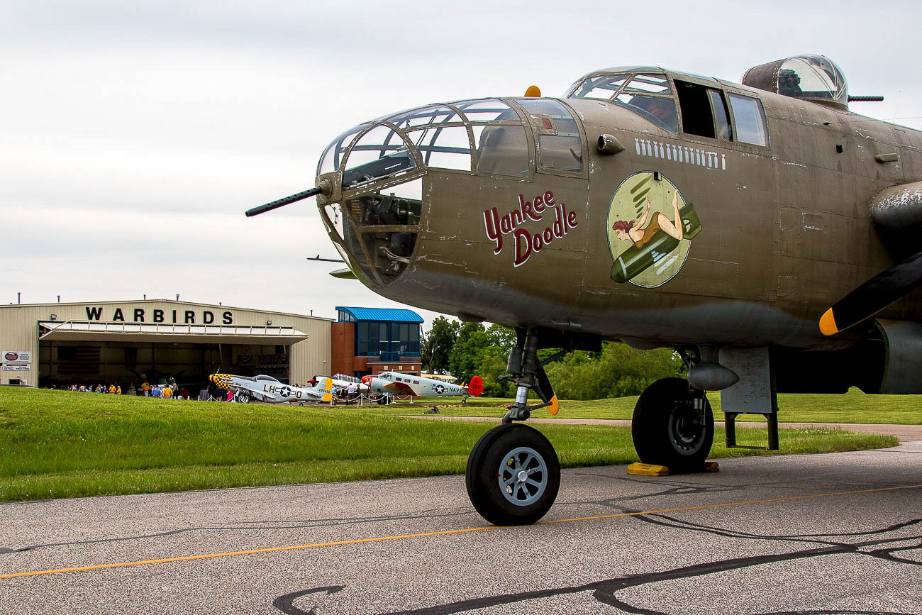 "Formerly named ""Axis Nightmare,"" the B-25 was renamed ""Yankee Doodle"" for the show. Still in its movie paint, the B-25 looks more authentic than ever. When you stop by the Tri-State Warbird Museum, you'll notice the plane legitimately looks like it's been through war with its movie paint on. The Tri-State Warbird Museum is located in Batavia next to the Clermont County Airport at 4021 Borman Drive (45103). It's open on Saturday from 10 AM to 3 PM and Wednesday from 4 to 7 PM. General admission is $12 and students and veterans are $7. WWII vets and veterans in uniform can visit the museum for free. / Image: Ernie Muller{ }// Published: 10.15.19"
