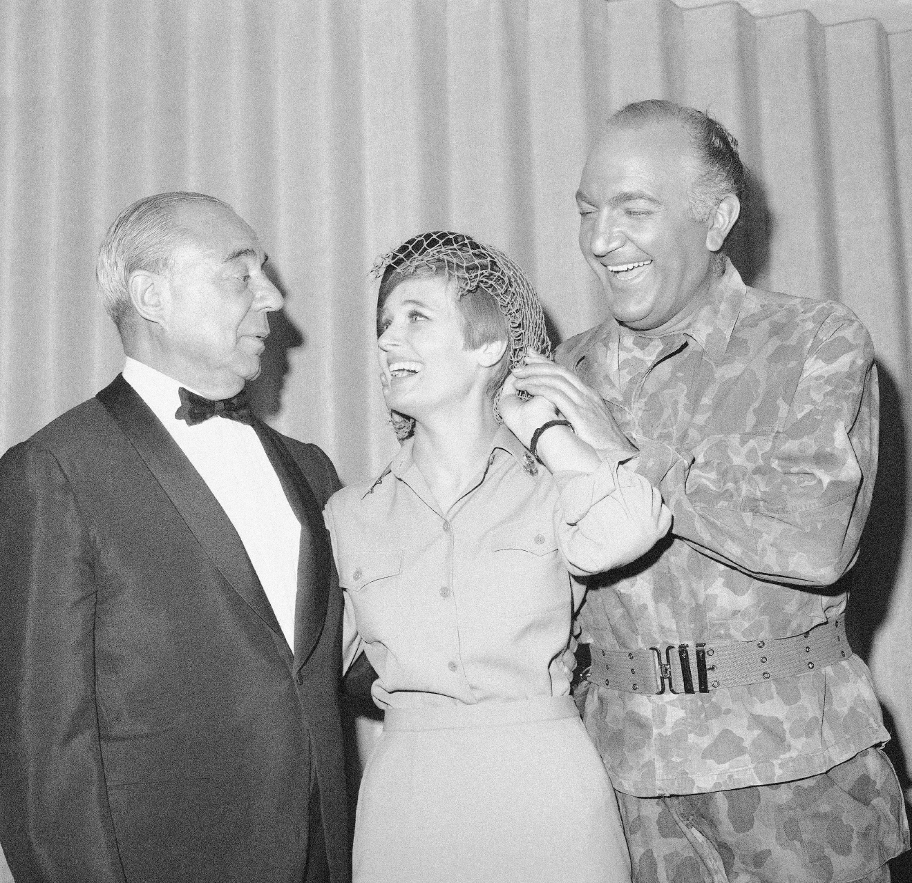 "FILE - In this June 12, 1967 file photo, composer Richard Rodgers, left, poses at opening night with stars, Florence Henderson and Giorgio Tozzi, of the New York revival of ""South Pacific,"" which Rodgers and Oscar Hammerstein II wrote. Henderson, the wholesome actress who went from Broadway star to television icon when she became Carol Brady, the ever-cheerful matriarch of ""The Brady Bunch,"" has died, her manager and her publicist said. She was 82. Henderson died Thursday night, Nov. 24, 2016,  at Cedars-Sinai Medical Center in Los Angeles, after being hospitalized the day before, said her publicist, David Brokaw. (AP Photo/John Lindsay, File)"