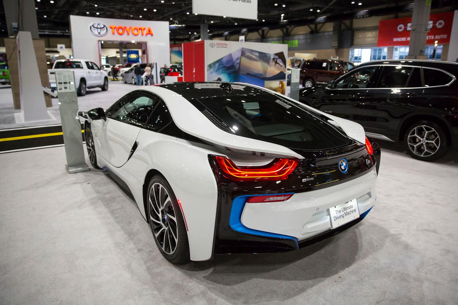 The BMW i8 has a range of around 330 miles, but costs a whopping $143,000, at the Seattle International Auto Show at the CenturyLink Event Center. (Sy Bean / Seattle Refined)