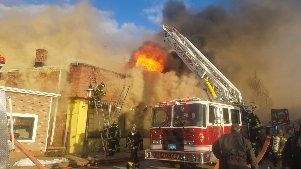 Firefighters are battling a fire at a Fall River hardware store Friday, Feb. 2, 2018 (Photo courtesy of Brian Fraga/Herald News of Fall River)<p></p>
