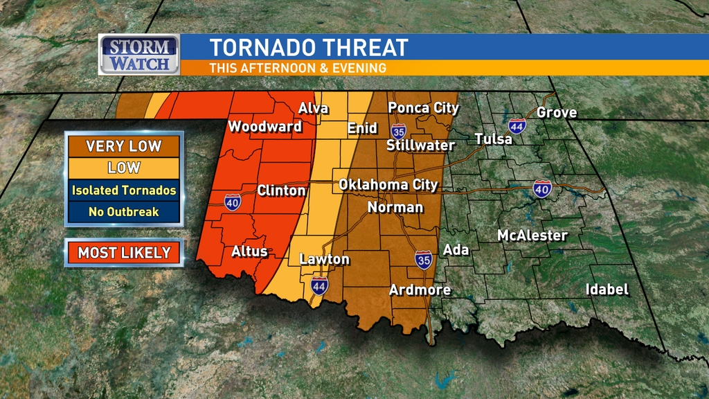 Severe storms are possible across Oklahoma from Tuesday afternoon to Wednesday morning. (Marcy Novak/KOKH)