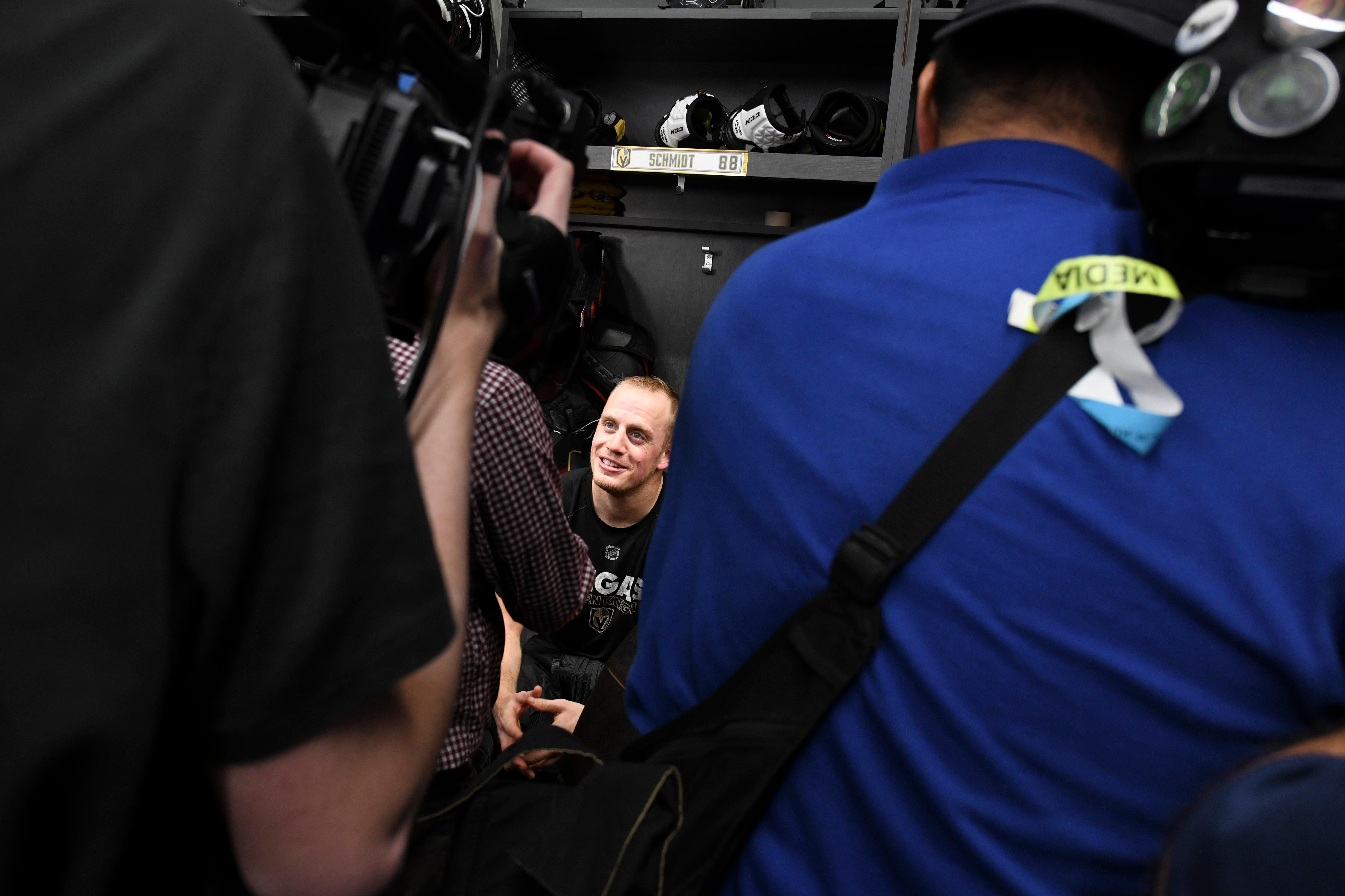 Media interview Vegas Golden Knights defenseman Nate Schmidt after the Vegas Golden Knights practice Friday, April 20, 2018, at City National Arena in Las Vegas. McNabb scored the winning goal against the Los Angeles Kings, his former team, to sweep the Kings in their first round playoff series. CREDIT: Sam Morris/Las Vegas News Bureau