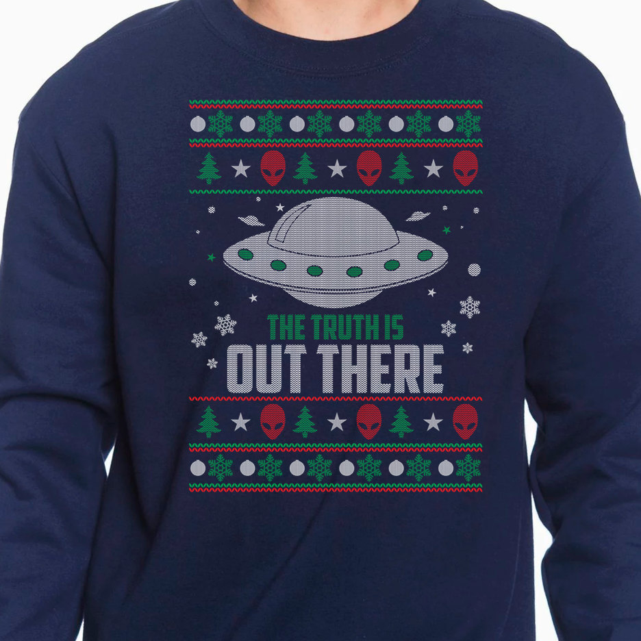 This one is for those of who X-Files fans who still know the Truth is Out There. This sweater is $34.95 and can be found at etsy.com/shop/DJCUSTOMSnTHINGS (Image: Etsy Shop DJCUSTOMSnTHINGS)