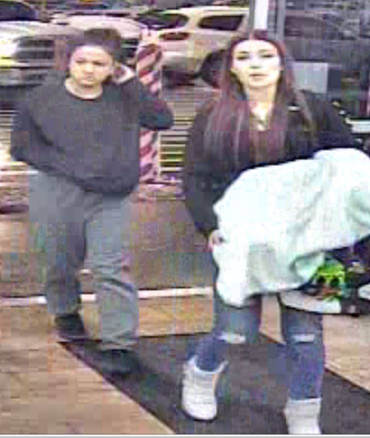 "Logan police: 'Miscreants' stole 65"" TV, loaded it into stolen vehicle. (Photo courtesy of Logan City PD)"