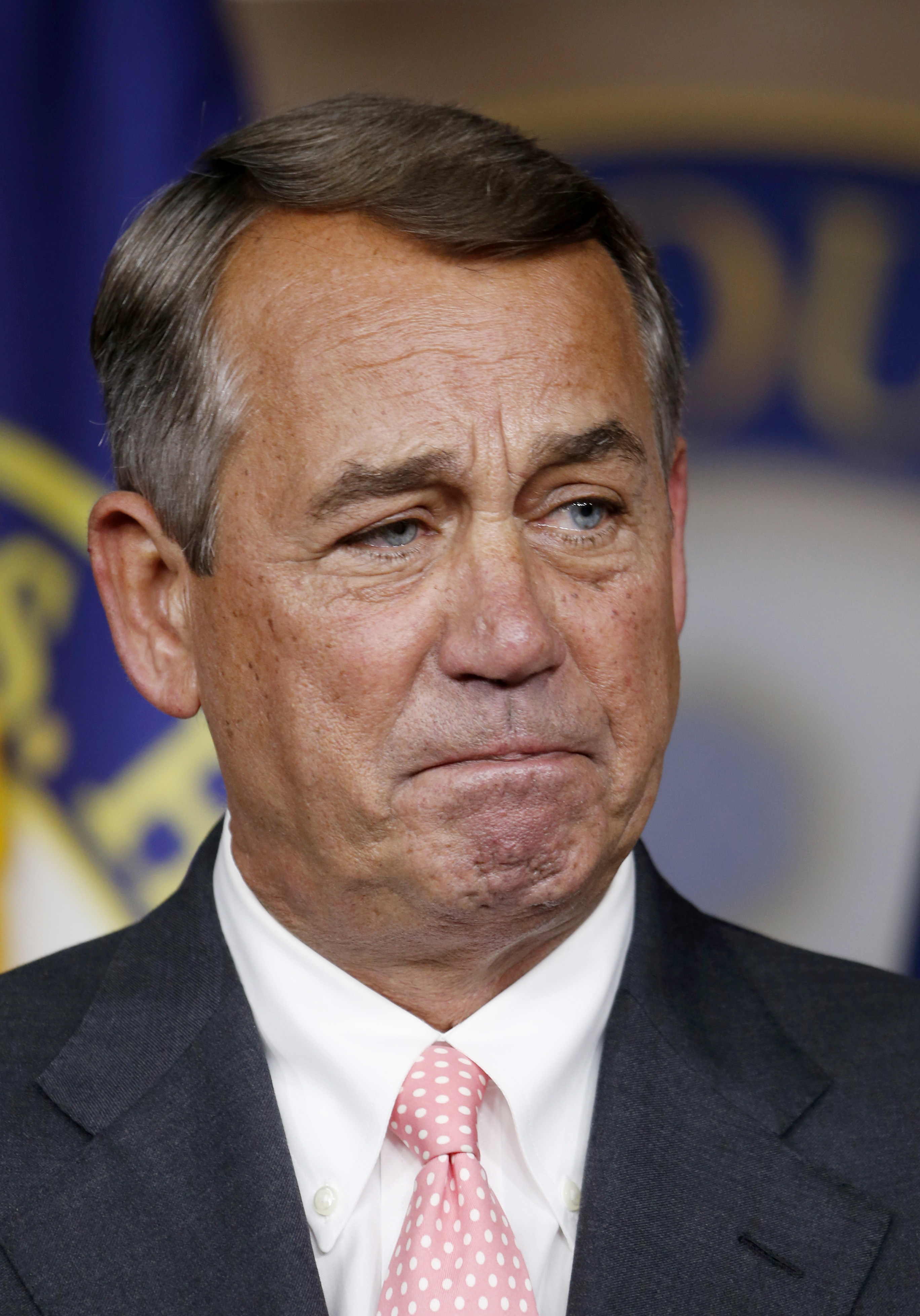 House Speaker John Boehner of Ohio listens to a question during a news conference on Capitol Hill  in Washington, Friday, Sept. 25, 2015. In a stunning move, Boehner informed fellow Republicans on Friday that he would resign from Congress at the end of October, stepping aside in the face of hardline conservative opposition that threatened an institutional crisis. (AP Photo/Steve Helber)