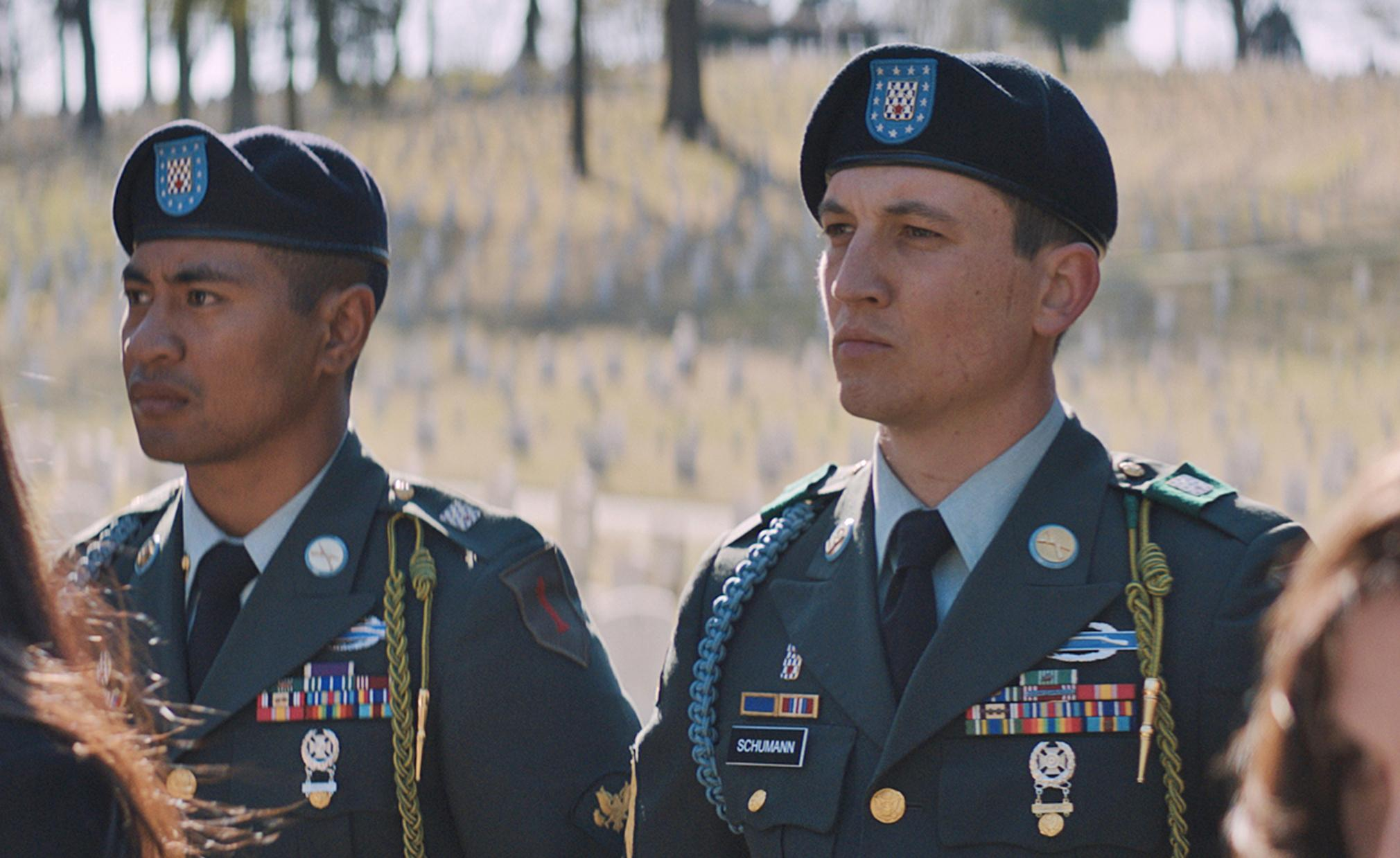 "(L to R) Solo Aeiti (BEULAH KOALE) and Adam Schumann (MILES TELLER) in DreamWorks Pictures' ""Thank You for Your Service.""  The drama follows a group of U.S. soldiers returning from Iraq who struggle to integrate back into family and civilian life, while living with the memory of a war that threatens to destroy them long after they've left the battlefield."
