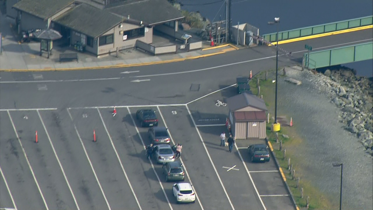 { }A vehicle hit the ferry terminal in Coupeville, sending a driver to the hospital and prompting a temporary closure of the terminal Monday, April 9, 2018. (Photo: KOMO News/Air 4)