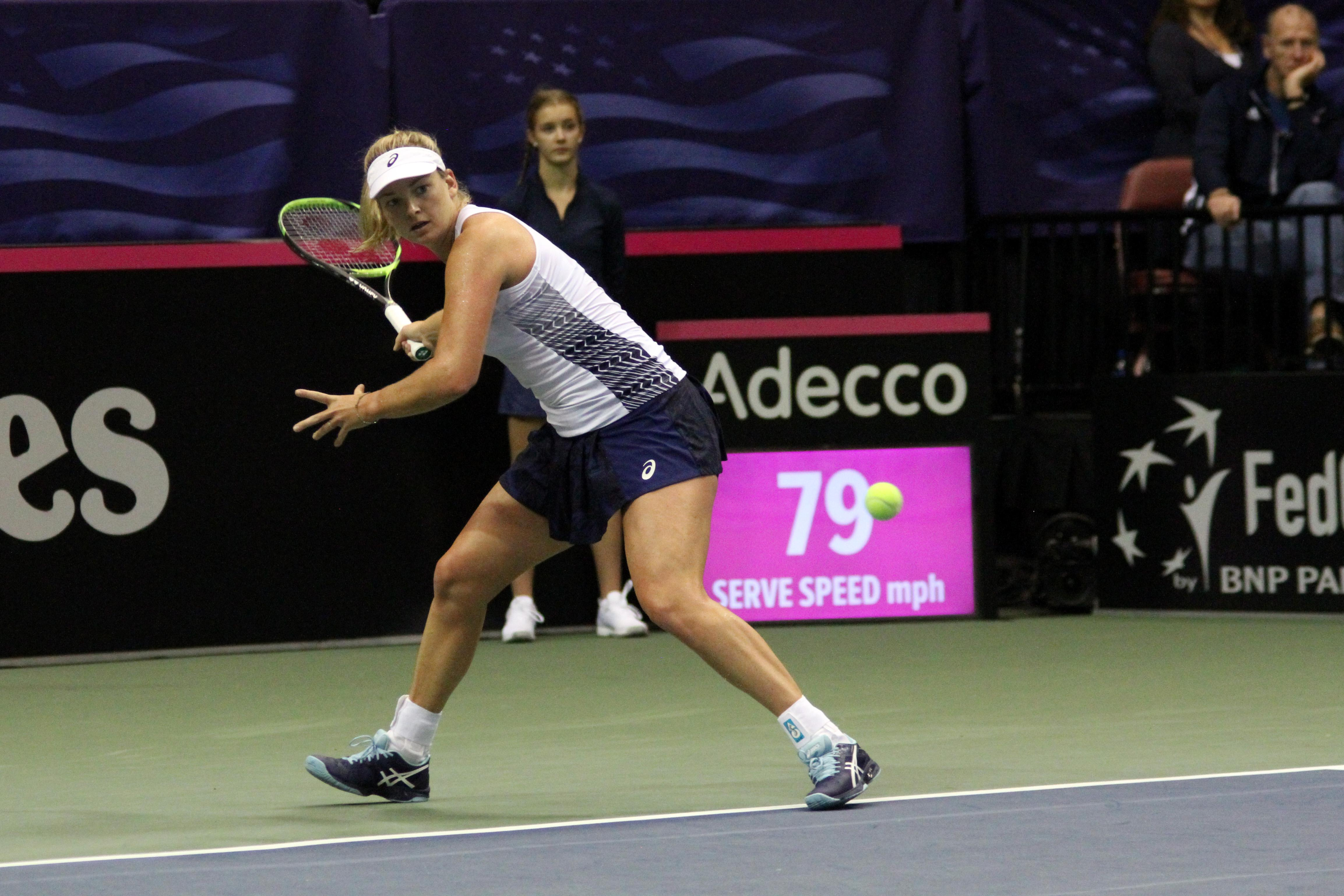 CoCo Vandeweghe plays for Team USA in the second singles match of the Fed Cup on Feb. 10, 2018. Vandeweghe went on to defeat Netherland's Richel Hogenkamp. (Photo credit: WLOS Staff)