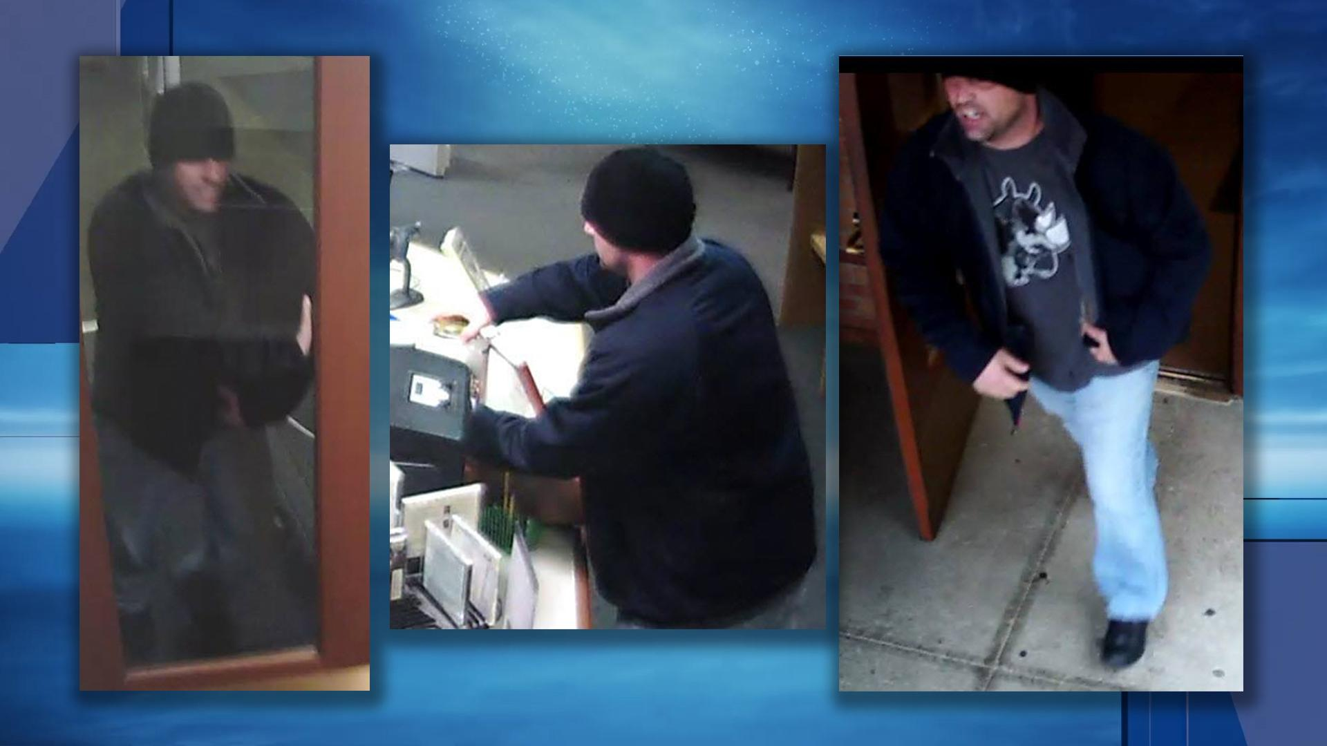 The Cranston Police Department is asking the public to help the identify a man who stole a donation jar from an area library. (Police photos)