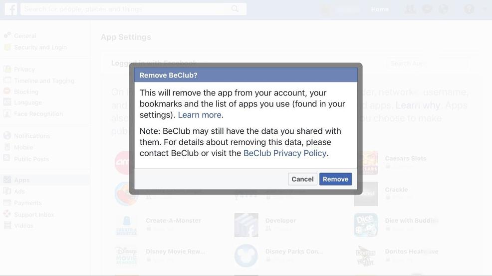 How to remove your data from apps on facebook kokh step 4 how to remove facebook apps and remove your data removing the app does not guarantee the app will delete the data its collected from you ccuart Choice Image
