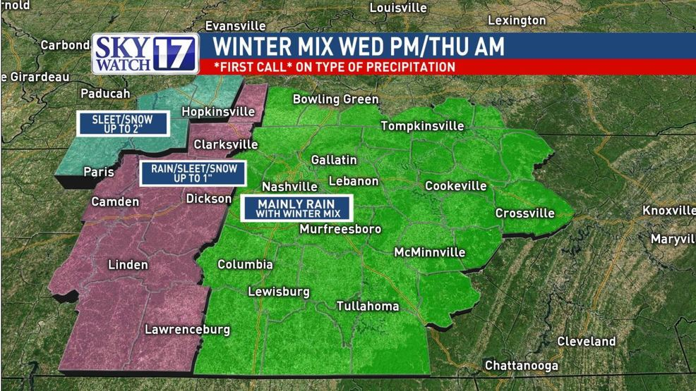 CODE RED: Snowfall, wintry mix possible in parts of Middle
