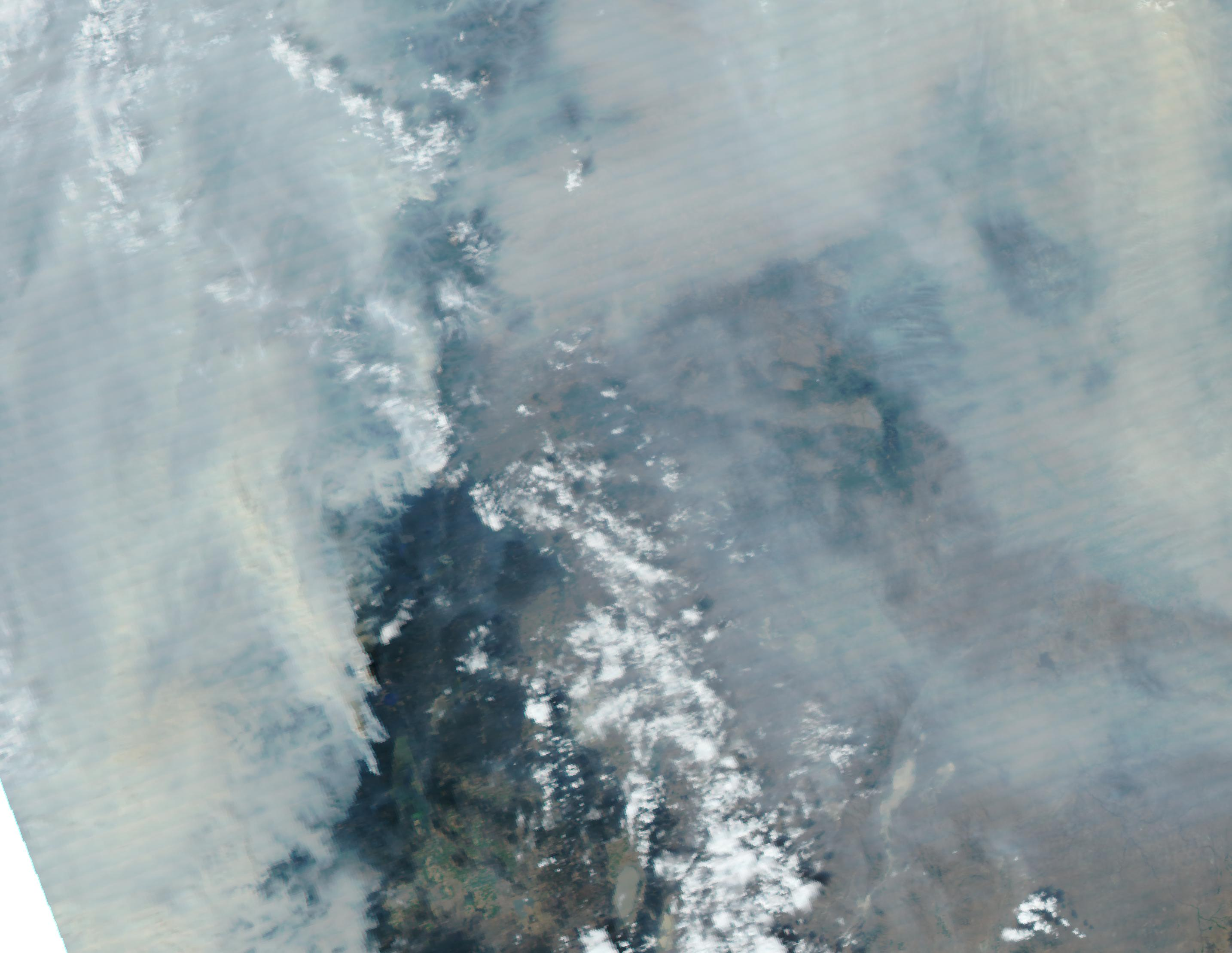 NASA satellite image shows Oregon on September 5, 2017. Air quality in Western Oregon ranges into the Unhealthy and even Hazardous categories over the Labor Day weekend thanks to smoke from forest fires.