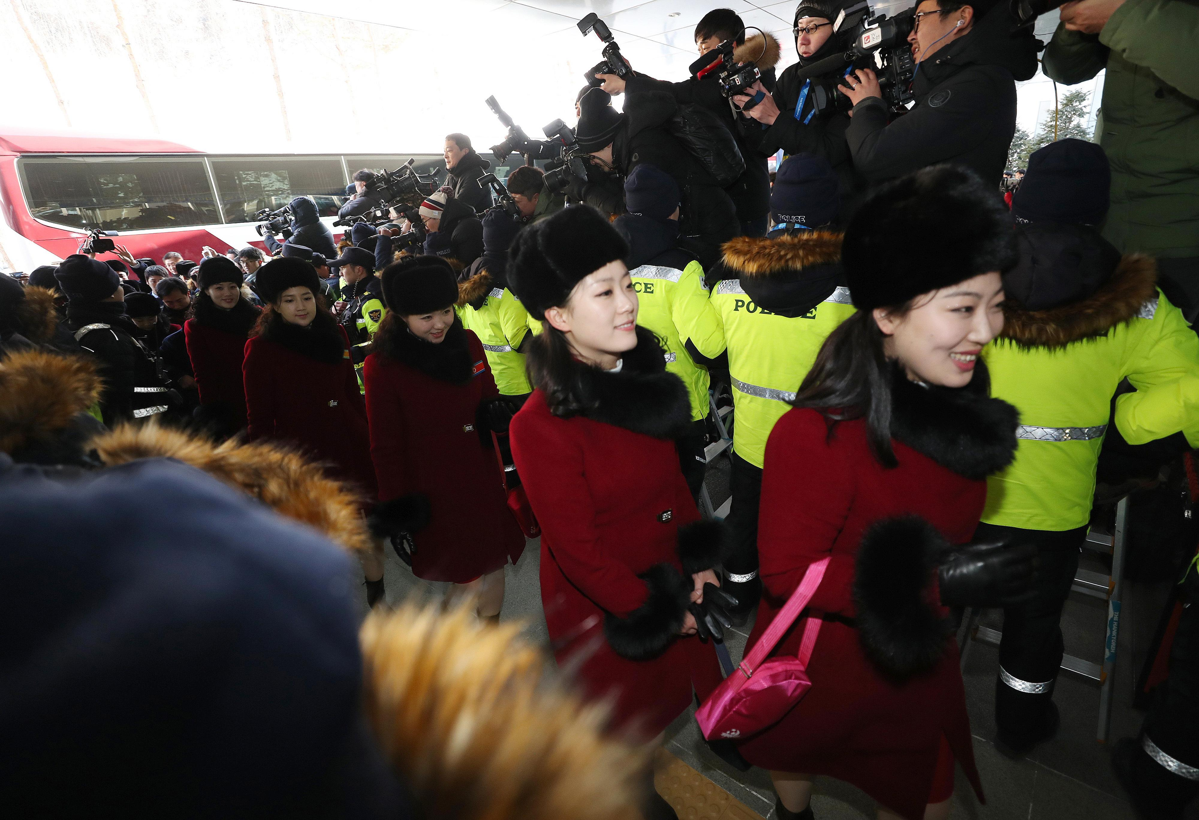 North Korean cheering squads arrive at a stadium in Inje, South Korea, Wednesday, Feb. 7, 2018. A North Korean delegation, including members of a state-trained cheering group, arrived in South Korea on Wednesday for the Pyeongchang Winter Olympics. (Yang Yong-suk/Yonhap AP)