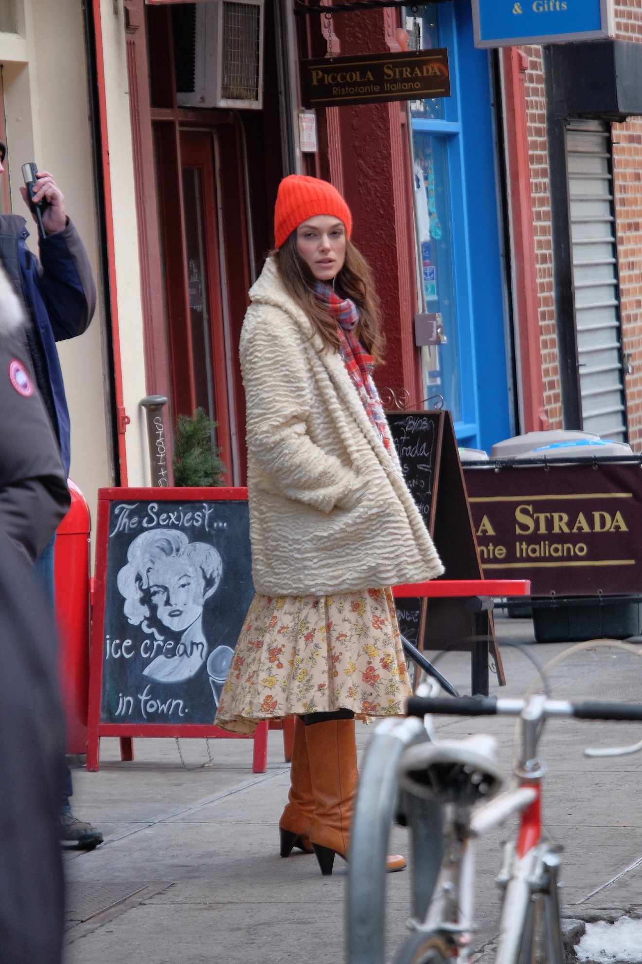 Stars on the set of 'Collateral Beauty,' filming in Manhattan  Featuring: Keira Knightley Where: Manhattan, New York, United States When: 04 Mar 2016 Credit: TNYF/WENN.com