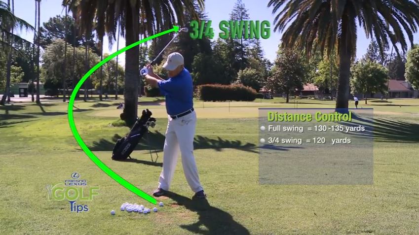 Tammy Masters shows that using a 3/4 swing with a pitching wedge, his ball will go about 120 yards