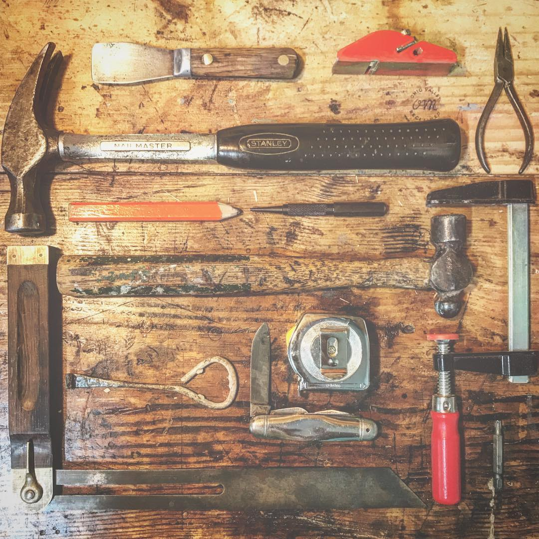 Keith uses his grandfather's tools to transform old materials into new works of functional art. / Image courtesy of Ohio Valley Reclaimed // Published: 8.24.17
