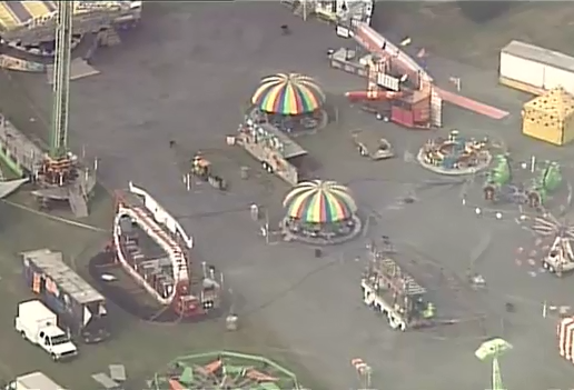 Photo of Frederick County Fairgrounds where woman was injured on ride Monday evening.  Tuesday, July 26, 2016. (ABC Chopper7)