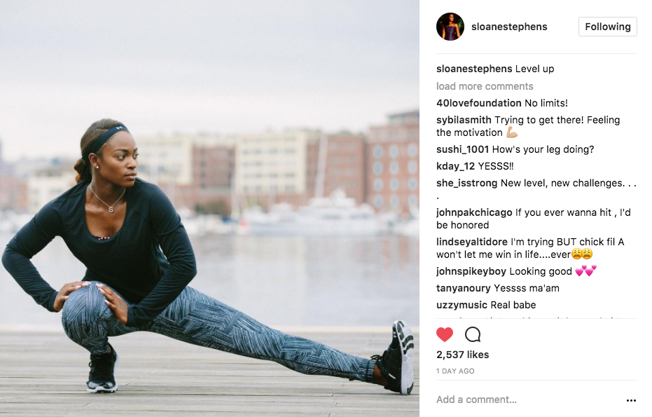 "Sloane Stephens posts a photo to Instagram captioning ""Level Up"""