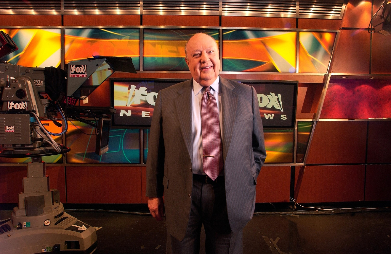 In a Sept. 29, 2006 file photo, Fox News CEO Roger Ailes poses at Fox News in New York. (AP Photo/Jim Cooper, File)
