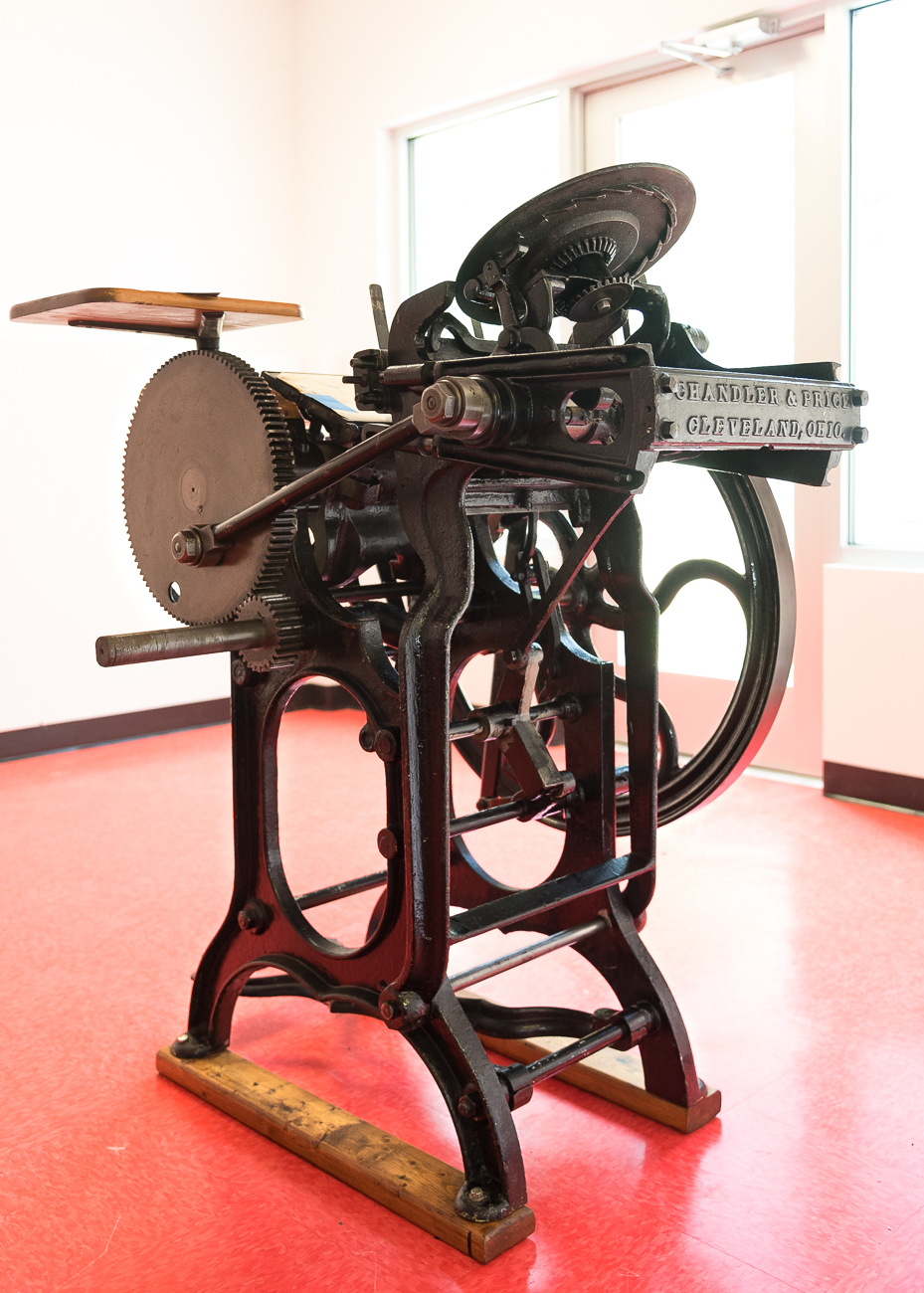 The oldest printer in the museum is from 1820 and requires the user to work a pedal in order to make the machine run. / Image: Phil Armstrong, Cincinnati Refined // Published: 7.20.18