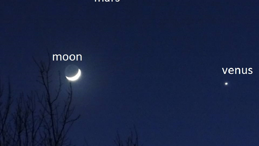 Moon, Venus and Mars visible tonight