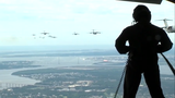 Twenty C-17s fly over Charleston during training mission with Army