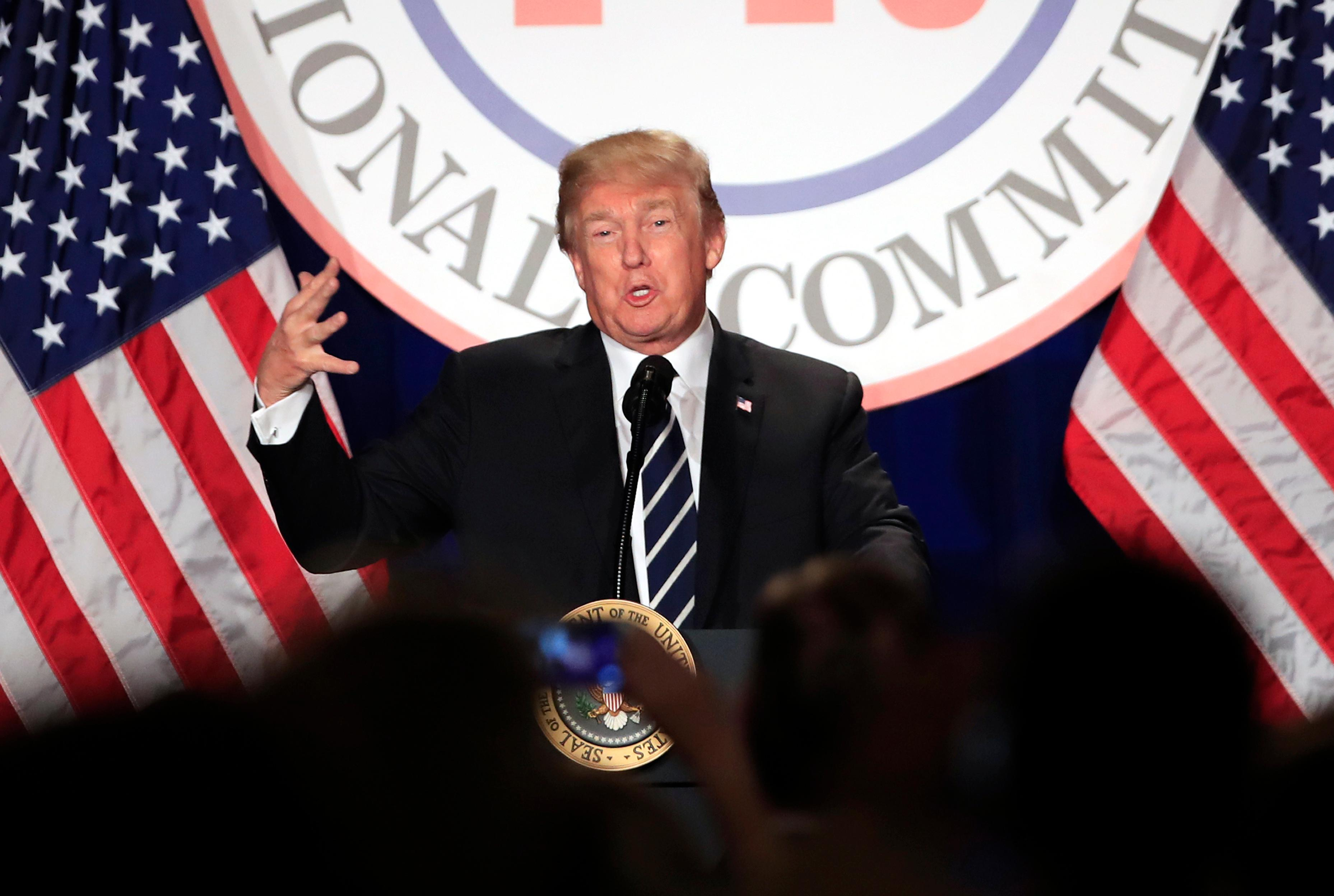 President Donald Trump speaks at the Republican National Committee (RNC) winter meeting in Washington, Thursday, Feb. 1, 2018. (AP Photo/Manuel Balce Ceneta)
