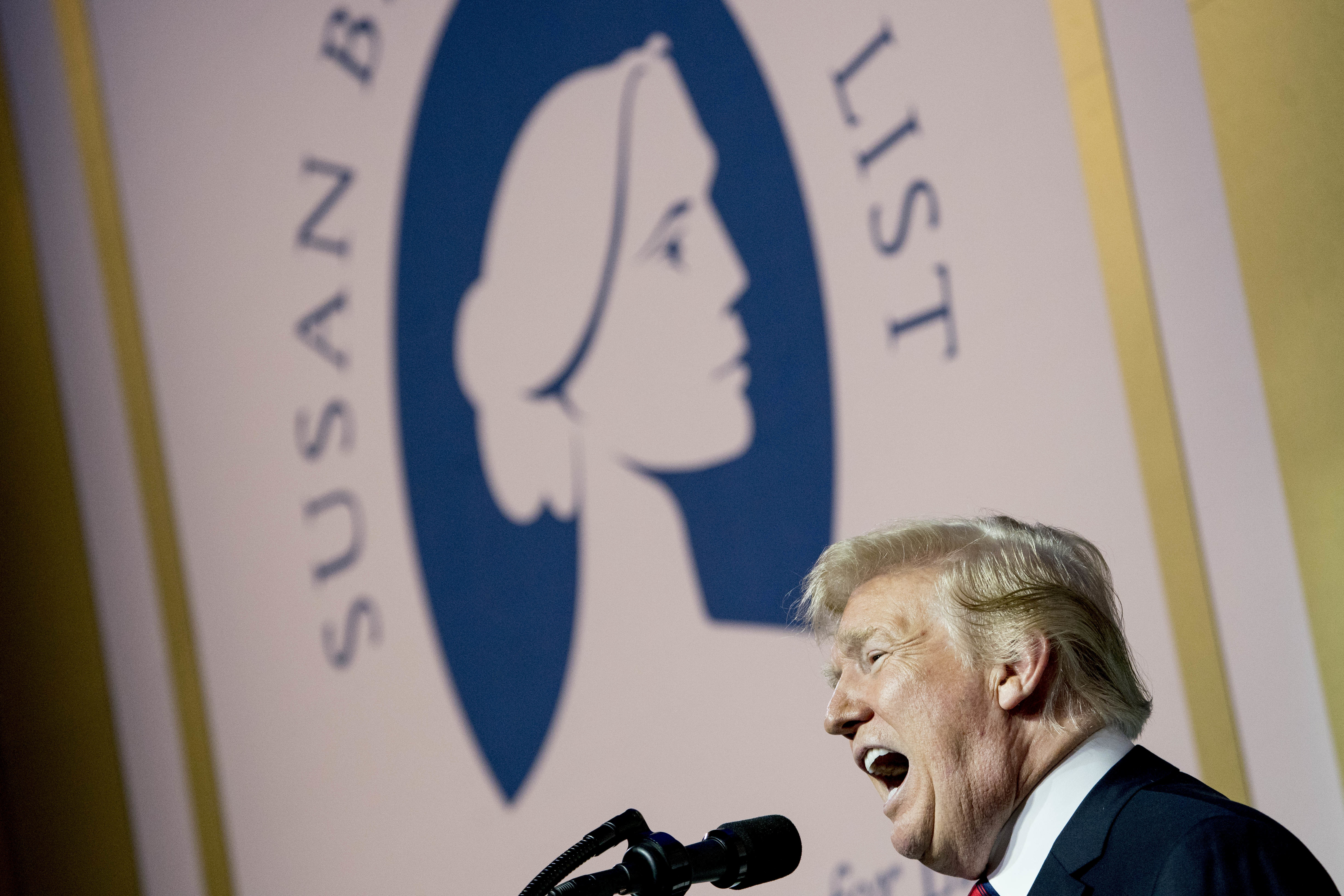 President Donald Trump speaks at the Susan B. Anthony List 11th Annual Campaign for Life Gala at the National Building Museum, Tuesday, May 22, 2018, in Washington. (AP Photo/Andrew Harnik)