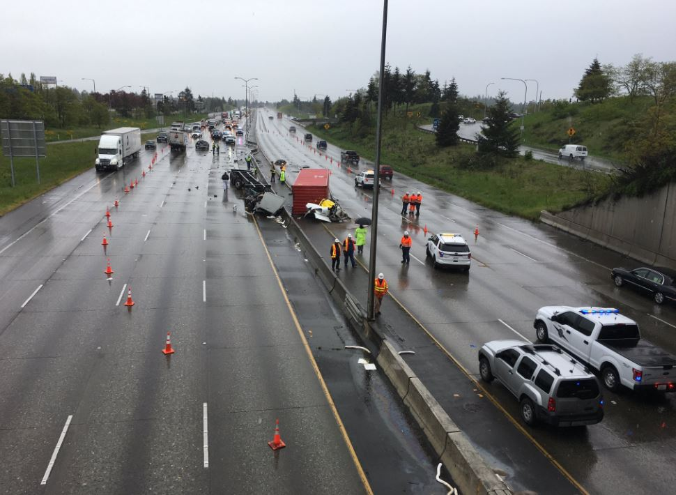 The driver of this semi-truck was killed in a crash on Intersate 5 in Tacoma on Thursday, May 11, 2017. (Photo: KOMO News)
