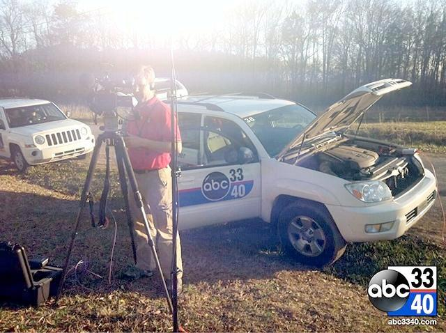 Reporter Haley Westbrook prepares for live shot from Cullman County, Friday, March 7, 2014.